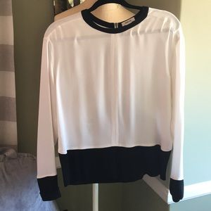 Helmet Lang silky white blouse with black accents